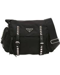 a0e13aaf41e4 Prada - Nylon Shoulder Bag W  Studded Straps - Lyst