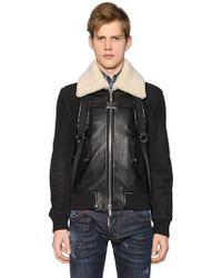 DSquared² - Leather Bomber Jacket W/ Shoulder Straps - Lyst