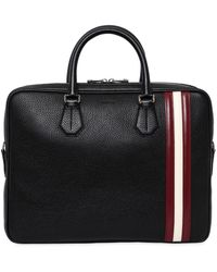 Bally - Striped Pebbled Leather Briefcase - Lyst