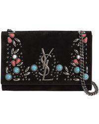 Saint Laurent | Small Kate Monogram Suede Bag W/ Stones | Lyst