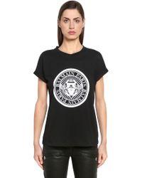 Balmain - T-shirt In Jersey Di Cotone - Lyst