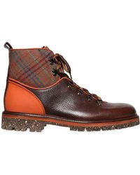 Etro | Plaid & Leather Hiking Boots | Lyst