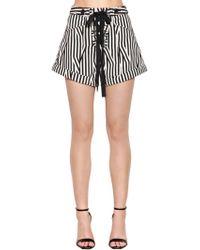 Self-Portrait - Lace-up Striped Cotton Shorts - Lyst