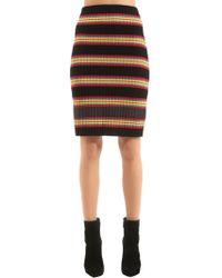 Marco De Vincenzo - Striped Wool Rib Knit Skirt - Lyst