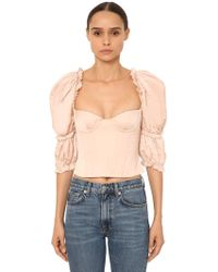 Brock Collection - Top Bustier In Popeline Di Cotone Con Ruches - Lyst