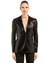Marco De Vincenzo - Sequined Blazer W/ Pocket Patch - Lyst