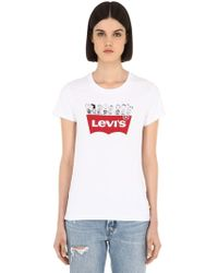 """Levi's T-shirt """"snoopy"""" In Cotone"""
