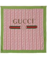 Gucci - Rose Printed Silk Foulard - Lyst