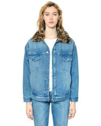 Steve J & Yoni P - Leopard Faux Fur & Cotton Denim Jacket - Lyst