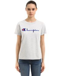 Champion - Logo Embroidered Cotton T-shirt - Lyst