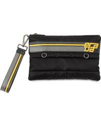 Prada - Logo Patch Quilted Nylon & Leather Pouch - Lyst