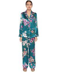 Olivia Von Halle - Lila Bouquet Print Silk Satin Pyjama Set - Lyst