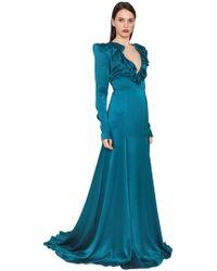 Daniele Carlotta - Ruffled Silk Satin Dress - Lyst
