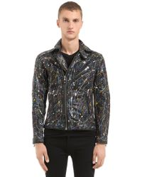 HTC Hollywood Trading Company - Hand-painted Leather Biker Jacket - Lyst