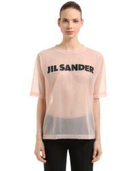 Jil Sander - Oversized Logo Print Sheer Nylon T-shirt - Lyst