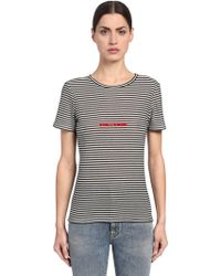 Saint Laurent - Striped Logo Embroidered Jersey T-shirt - Lyst