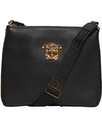Versace - Medusa Tumbled Leather Messenger Bag - Lyst