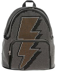 Les Petits Joueurs - Studded Bolt Suede & Leather Backpack - Lyst