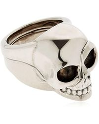 Alexander McQueen - Divided Skull Silver Plated Brass Ring - Lyst