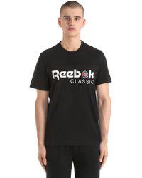 Reebok - Logo Cotton Jersey T-shirt - Lyst