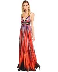 Elie Saab - Printed Crepe Georgette Long Dress - Lyst