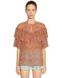 Giamba - Ruffled Floral Print Silk Georgette Top - Lyst