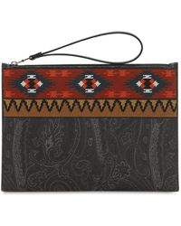 Etro - Pvc Paisley & Al Embroidered Pouch - Lyst