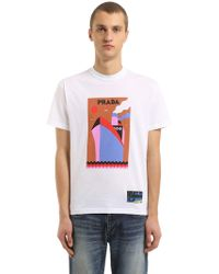 Prada - Oversized Boat Printed Jersey T-shirt - Lyst