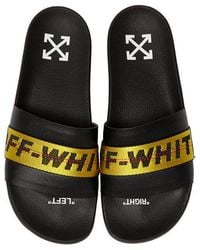 2cdc85cf946a Off-White c o Virgil Abloh - Black And Yellow Industrial Strap Slides -