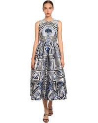 Mary Katrantzou - Printed Silk Blend Jacquard Midi Dress - Lyst