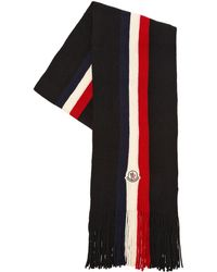 Moncler - Tricolor Logo Wool Scarf - Lyst