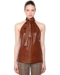 Rochas - Nappa Leather Top With Bow - Lyst