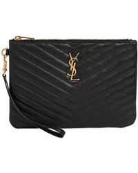 Saint Laurent - Monogram Quilted Leather Pouch - Lyst