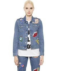 Au Jour Le Jour - Embellished Patch Cotton Denim Jacket - Lyst