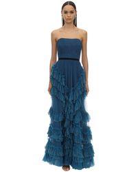 Marchesa notte Long Draped & Ruffled Tulle Dress W/lace - Blue