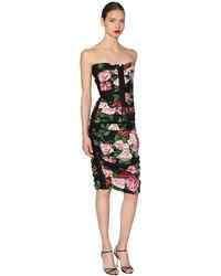 Dolce & Gabbana Vestido Midi Con Cordones Y Estampado - Multicolor