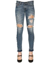 Dolce & Gabbana - Ripped Cotton Denim Jeans - Lyst