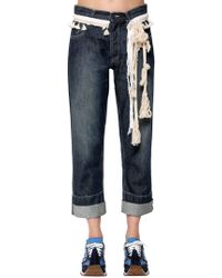 Loewe - Cotton Denim Jeans W/ Rope Details - Lyst