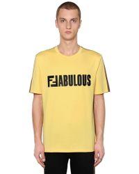 """Fendi - T-shirt Bicolore """"ffabulous"""" En Jersey - Lyst"""