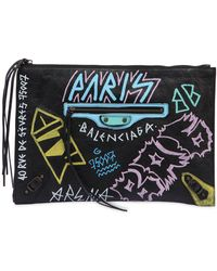 Balenciaga - Classic Graffiti Leather Pouch - Lyst