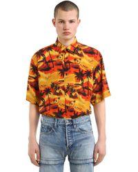 Balenciaga - Hawaiian Print Poplin Short Sleeve Shirt - Lyst