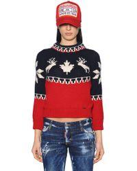 DSquared² - Intarsia Wool Knit Sweater - Lyst