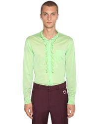 Prada - Camicia In Jersey Con Ruches - Lyst