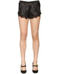 Dolce & Gabbana - Silk Satin Shorts W/ Lace Trim - Lyst