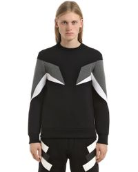 Neil Barrett - Neoprene Zip Intarsia Sweatshirt - Lyst