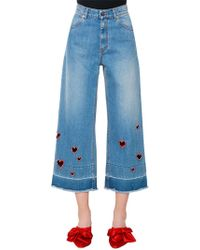 Vivetta - Embroidered Heart Cutouts Denim Jeans - Lyst