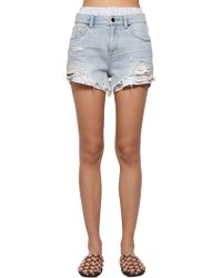 Alexander Wang - Destroyed Cotton Denim Shorts W/ Boxers - Lyst