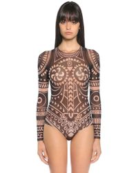 DSquared² - Tattoo Printed Tulle Bodysuit - Lyst