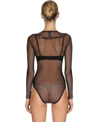 DSquared² - Body In Tulle Trasparente Stretch - Lyst