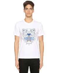 KENZO - Tiger Printed Cotton Jersey T-shirt - Lyst